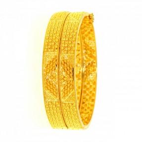 22ct Indian-Asian Filigree Gold Bangles-Karas Openable (Pair)