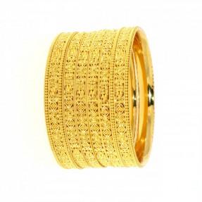 22ct Indian-Asian Gold Filigree 4 Bangles & 2 Karas Set