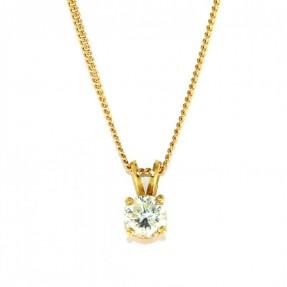18ct Gold 0.33ct 4 Claw Diamond Pendant & Chain