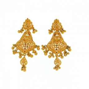 22ct Real Gold Asian/Indian/Pakistani Style Filigree Earrings