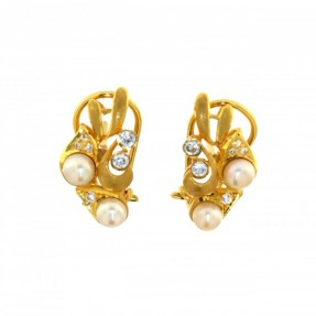 22ct Real Gold Asian/Indian/Pakistani Style Pearl Stud Earrings