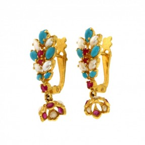 Indian-Asian Pearl Turquoise Ruby Earrings (Pre-Owned)