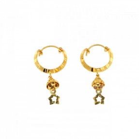 22ct Real Gold Asian/Indian/Pakistani Style Hoop Jhumkay Earrings