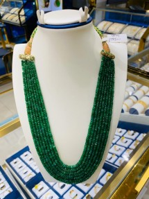 7 Strings Real Emerald Beads Mala-Necklace
