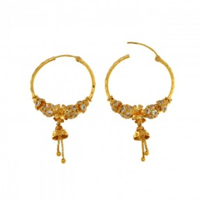 22ct Real Gold Asian/Indian/Pakistani Style Beads Flower Hoop Earrings
