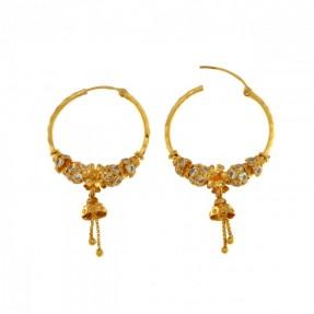 22ct Indian Gold Beads Flower Hoop Earrings