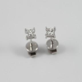 18ct White Gold Princess Cut 0.50ct Diamond Stud Earrings