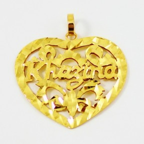 22ct Indian Gold Hand Made Heart Name Pendant