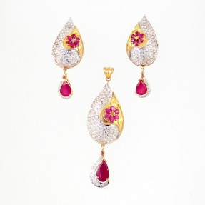 22ct Indian Gold Ruby Pendant Set ROYAL COLLECTION