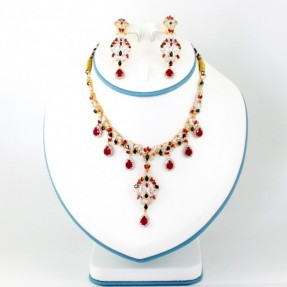 22ct Indian Gold Sapphire Necklace Set ROYAL COLLECTION