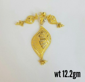 22ct Indian Gold Filigree Pendant Set
