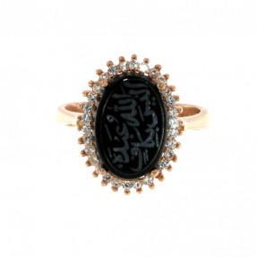 925 Sterling Silver Rose Gold Plated Unique Alaisallah Ring with Black Onyx or Carnelian