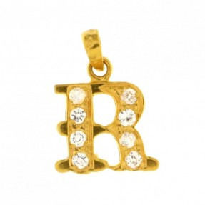 22ct Indian Gold R Pendant