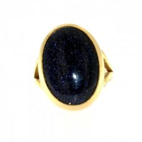 22ct Gold Handmade Blue Goldstone Ring