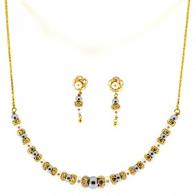 22ct Indian Gold Pearl Necklace Set