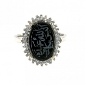 925 Sterling Silver Unique Alaisallah Ring with Black Onyx or Carnelian