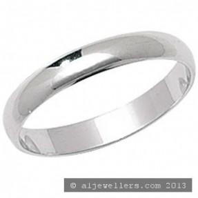 PLATINUM D SHAPE WEDDING RING 3MM