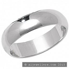 PLATINUM D SHAPE WEDDING RING 5MM