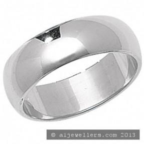 PLATINUM D SHAPE WEDDING RING 6MM