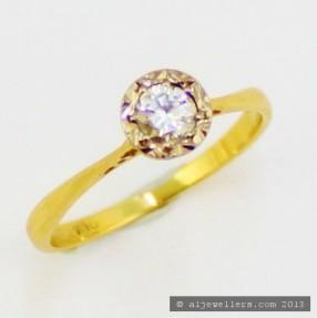 18K Gold Diamond Rub-Over Set Ring