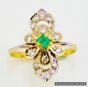 18ct Gold  Emerald and Diamonds Ring