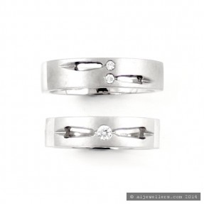 18ct White Gold His & Her Wedding Band Set