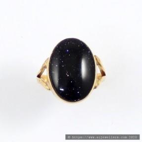 22ct Indian Gold Handmade Blue Goldstone Ring