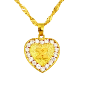 22ct Real Gold Asian/Indian/Pakistani Style 'X' Heart Pendant