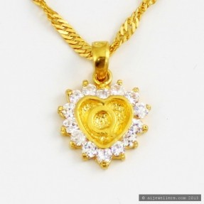 22ct Indian Gold 'Q' Heart Pendant