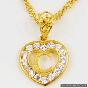 22ct Indian Gold 'C' Heart Pendant