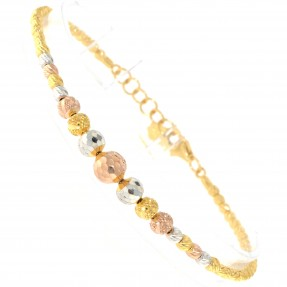 22ct Indian/Asian Gold Three Colour Bead Charm Bracelet