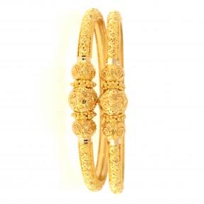 22ct Indian-Asian Gold Filigree Pipe Karas/Bangles