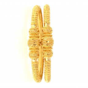 22ct Indian-Asian Gold Filigree Pipe Karas/Bangles (Pair)