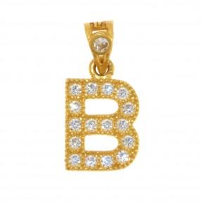 22ct Indian/Asian Gold 'B' Pendant