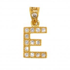 22ct Indian/Asian Gold 'E' Pendant