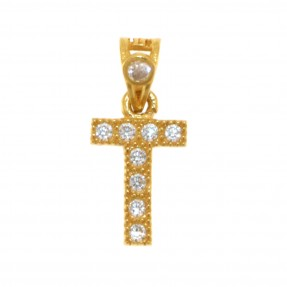 22ct Indian/Asian Gold 'T' Pendant