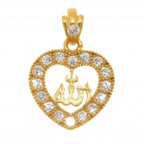 22ct Indian/Asian Gold Heart Allah Pendant