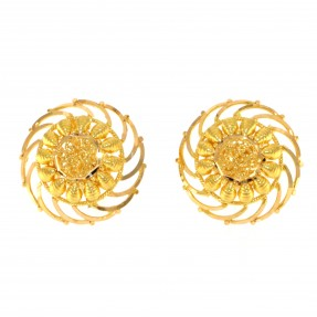 22ct Real Gold Asian/Indian/Pakistani Style Filigree Flower Stud Earrings