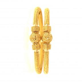 22ct Indian/Asian Gold Filigree Pipe Karas/Bangles (Pair)