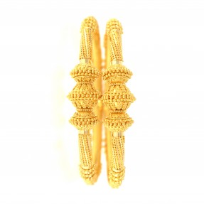 22ct Real Gold Asian/Indian/Pakistani Style Filigree Pipe Karas/Bangles (Pair)