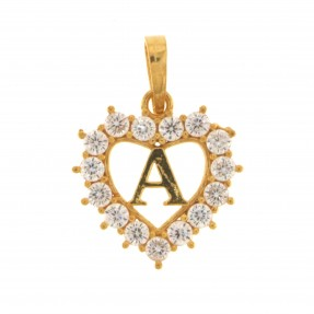 22ct Indian/Asian Gold Heart 'A' Pendant