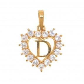 22ct Indian/Asian Gold Heart 'D' Pendant