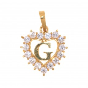 22ct Indian/Asian Gold Heart 'G' Pendant
