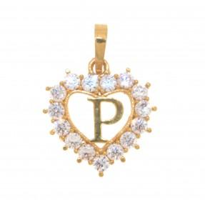 22ct Indian/Asian Gold Heart 'P' Pendant
