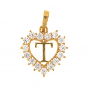 22ct Indian/Asian Gold Heart 'T' Pendant
