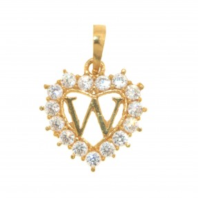 22ct Indian/Asian Gold Heart 'W' Pendant