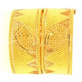 22ct Indian/Asian Filigree Gold Bangles/Karas Openable (Pair)