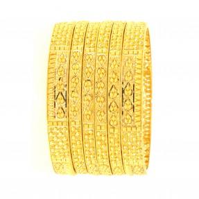 22ct Real Gold Asian/Indian/Pakistani Style Filigree 4 Bangles & 2 Karas Set