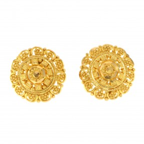22ct Real Gold Asian/Indian/Pakistani Style Filigree Stud Earrings