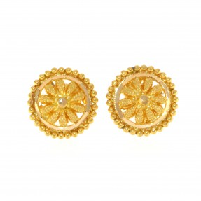 22ct Indian/Asian Gold Filigree Flower Stud Earrings